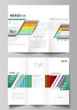 Tri-fold brochure business templates on both sides. Vector layout in flat style. Bright color rectangles, colorful Royalty Free Stock Image