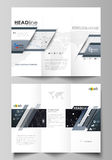 Tri-fold brochure business templates. Easy editable vector layout. Abstract design infographic background in minimalist Royalty Free Stock Images