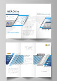 Tri-fold brochure business templates. Easy editable vector layout. Blue color abstract design infographic background in Stock Photo