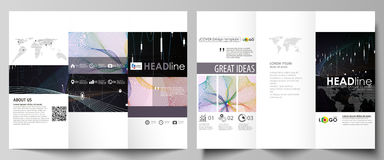 Tri-fold brochure business templates. Easy editable vector layout. Colorful abstract design infographic background in Stock Photography