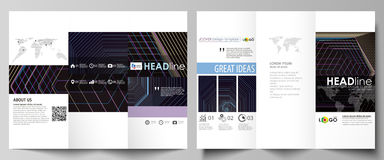 Tri-fold brochure business templates. Easy editable vector layout in flat style. Abstract polygonal background with Stock Images