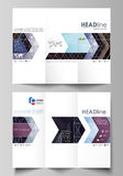 Tri-fold brochure business templates. Easy editable vector layout in flat style.  Royalty Free Stock Photos