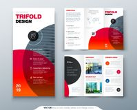 Tri fold brochure design. Business template for tri fold flyer. Layout with modern circle photo and abstract background. Creative 3 folded flyer or brochure Stock Images