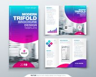 Tri fold brochure design. Cool business template for tri fold flyer. Layout with modern circle photo and abstract. Background. Creative 3 folded flyer or Royalty Free Stock Photography