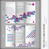 Tri-fold brochure design corporate business style blue violet Stock Image