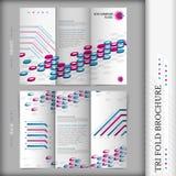 Tri-fold brochure design corporate business style blue violet Stock Image