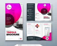 Tri fold brochure design. Pink business template for tri fold flyer. Layout with modern circle photo and abstract. Background. Creative 3 folded flyer or Royalty Free Stock Images