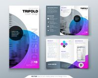 Tri fold brochure design. Purple corporate business template for tri fold flyer. Layout with modern circle photo and vector illustration