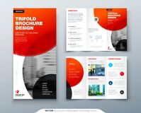 Tri fold brochure design. Red business template for tri fold flyer. Layout with modern circle photo and abstract. Background. Creative 3 folded flyer or Royalty Free Stock Photos