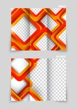 Tri-fold brochure design. In squares style in orange color Stock Photography