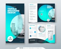 Tri fold brochure design. Teal, orange corporate business template for tri fold flyer. Layout with modern circle photo. And abstract background. Creative stock illustration