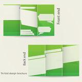 Tri-fold brochure design. Brochure template design with green color. Origami style Royalty Free Stock Photos