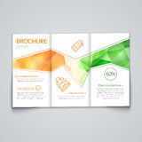 Tri-fold brochure design template with modern polygonal background on white.  Stock Photos