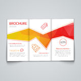 Tri-fold brochure design template with modern polygonal background on white.  Stock Images