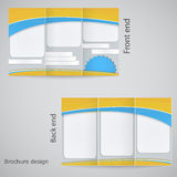 Tri-fold brochure design. Brochure template design  with yellow and blue Stock Photo