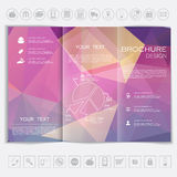 Tri-Fold Brochure mock up  design. Polygonal background background. Royalty Free Stock Photos