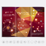 Tri-Fold Brochure mock up design. Polygonal background with shiny elements. Stock Images
