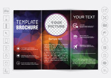 Tri-Fold Brochure mock up vector design. Polygonal background. Royalty Free Stock Photos