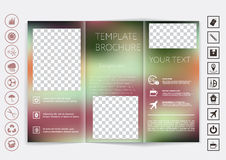 Tri-Fold Brochure mock up vector design. Smooth unfocused bokeh background. Royalty Free Stock Images