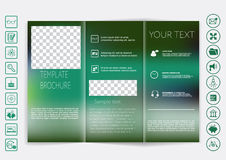 Tri-Fold Brochure mock up vector design. Smooth unfocused bokeh background. Stock Photo