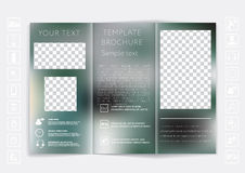 Tri-Fold Brochure mock up vector design. Smooth unfocused bokeh background. Stock Photography