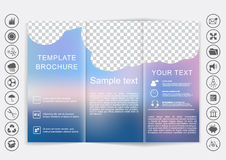Tri-Fold Brochure mock up vector design. Smooth unfocused bokeh background. Stock Images