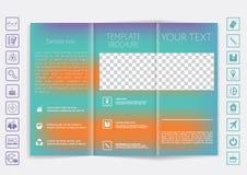 Tri-Fold Brochure mock up vector design. Smooth unfocused bokeh background. Royalty Free Stock Image