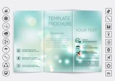 Tri-Fold Brochure mock up vector design. Smooth unfocused bokeh background. Stock Image