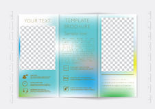 Tri-Fold Brochure mock up vector design. Smooth unfocused bokeh background. Royalty Free Stock Photography
