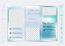 Tri-Fold Brochure mock up vector design. Smooth unfocused bokeh background. Stock Photos