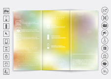 Tri-Fold Brochure mock up vector design. Smooth unfocused bokeh background. Stock Photo