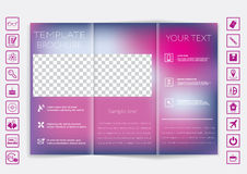 Tri-Fold Brochure mock up vector design. Smooth unfocused bokeh background. Royalty Free Stock Photos
