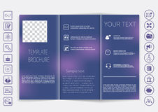 Tri-Fold Brochure mock up vector design. Smooth unfocused bokeh background. Royalty Free Stock Images