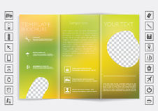Tri-Fold Brochure mock up vector design. Smooth unfocused bokeh background. Stock Photography