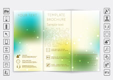 Tri-Fold Brochure mock up vector design. Smooth unfocused bokeh background. Royalty Free Stock Photo
