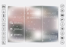 Tri-Fold Brochure mock up vector design. Smooth unfocused bokeh background. Stock Photos