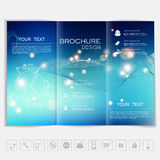Tri-Fold Brochure mock up vector design. Smooth unfocused bokeh background with waves and shiny elements. Stock Images