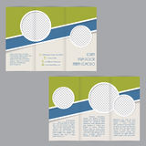 Tri-fold brochure template design with flat elements. And image containers Stock Images