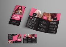 Tri-fold brochure template with diagonal elements and a place for a photo. Design booklet for business, advertising and printing. Vector illustration vector illustration