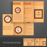 Tri-Fold brochure, template or flyer for footwear business. Royalty Free Stock Images