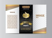 Tri-fold brochure template for Halloween party stock photography