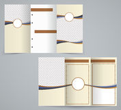 Tri-fold business brochure template, brown design. Flyer. Illustration stock illustration