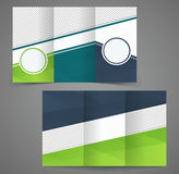 Tri-fold business brochure template, two-sided template design Stock Photography