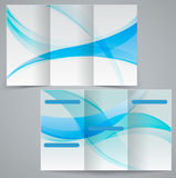 Tri-fold business brochure template, vector blue d Stock Photos