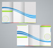 Tri-fold business brochure template. Vector blue design flyer with stripes royalty free illustration