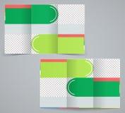 Tri-fold business brochure template. Vector green design flyer stock illustration