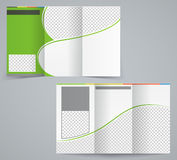 Tri-fold business brochure template, vector green  Royalty Free Stock Images