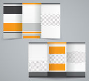 Tri-fold business brochure template. Vector orange design flyer stock illustration