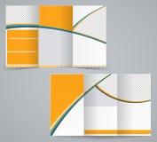 Tri-fold business brochure template. Vector orange design flyer vector illustration