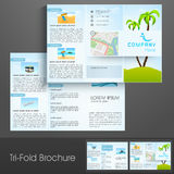 Tri-Fold flyer, brochure or template design for tour and travels. Stylish tri-fold flyer, brochure or template design decorated with nature view for tour and Royalty Free Stock Image